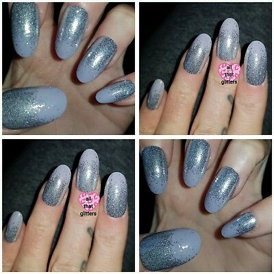 WINTER Grey with Pure Silver Glitter Fade ROUND  False Nails x 20