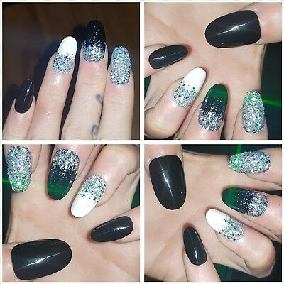 Black,White and Silver Holographic Party Nails Round Nails x 20