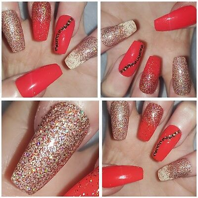 NEW! Cinnamon Spice Red Autumn/Winter Sparkly Long Coffin Nails x 20