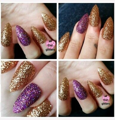 NEW! Autumn Delight & Copper Penny Glitter Nails Party Nails X 20