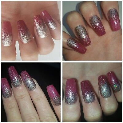 *SPECIAL OFFER*Plum & Champagne Holographic Glitter COFFIN False Nails x 20