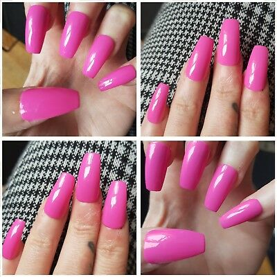 Stunning Glossy Hot Pink LONG COFFIN False Nails x 20