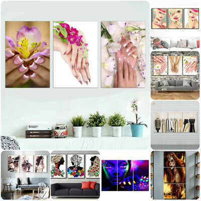 Nail Hair Makeup Beauty 3 Pcs Canvas Home Decor Wall Art Poster Painting Picture