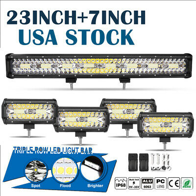 """23INCH +4x 7"""" Pods Combo Beam LED Light Bar Work Driving Lamp Offroad Tri-Row US"""