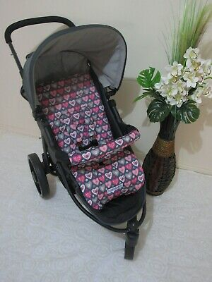 Handmade pram liner set-Pink love hearts-100% cotton*Funky babyz