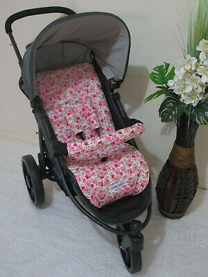 Handmade pram liner set-Cabbage rose floral-100% cotton*Funky babyz