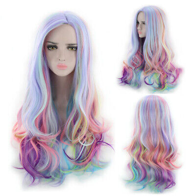 """Rainbow Ombre Hair Wig 27"""" Long Curly Wavy Women Lady Cosplay Dress Full Wigs"""