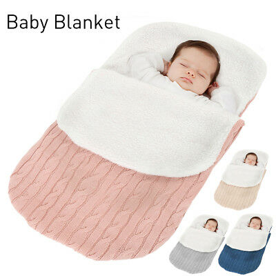 Newborn Baby Knit Crochet Swaddle Wrap Swaddling Blanket Warm Sleeping Bag
