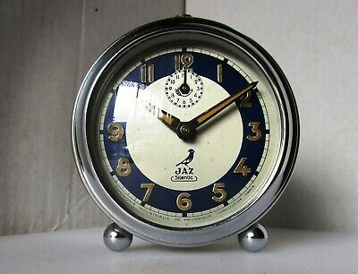 Beautiful Vintage Quality Chrome Alarm Clock from JAZ - Model SILENTIC