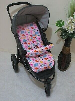 Handmade pram liner set-Jungle shuffle pink-100% cotton*Funky babyz,SALE*
