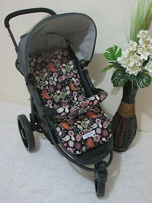 Handmade pram liner set-Black paisley-100% cotton*Funky babyz,SALE*