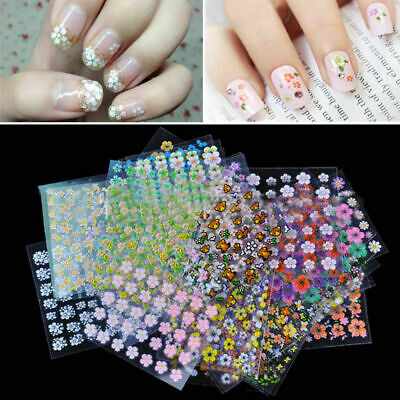 50 Sheets 3D Flower Tips Nail Art Transfer Stickers Decals Manicure Decor DIY