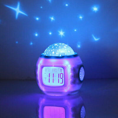 Romantic LED 7 Color Music Star Sky Projection Alarm Clock Calendar Night light
