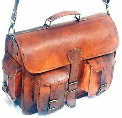 a982f168e Real genuine leather Men's Backpack Bag laptop Brown Vintage Satchel  briefcase