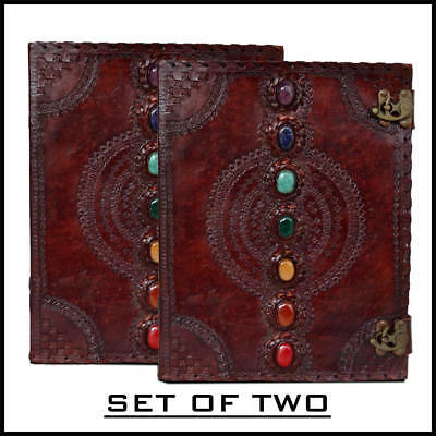 Seven Chakras Medieval Stone Leather Journal Book Set of Two Handbooks
