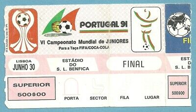 Ticket Final  World Cup Juniores Portugal - Brazil  1991   30/6/1991