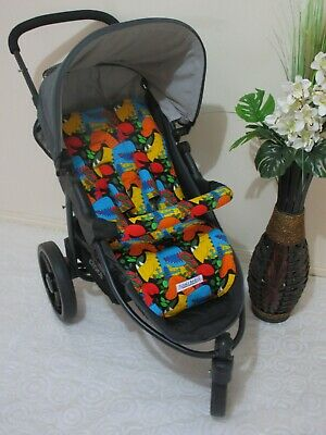 Pram liner set,universal,100% cotton fabric-Happy dinosaurs-Funky babyz,SALE*