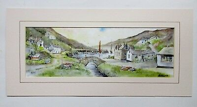 Vintage Mounted Print Of Boscastle Cornwall By Beth Altabas