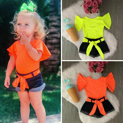 58246283f US 2PCS Infant Girl Kid Pagoda Sleeve Ruffle Tops+Jeans Pants Clothes Outfit  Set