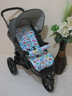 Handmade pram liner set-Jungle shuffle-blue-100% cotton*Funky babyz,SALE*