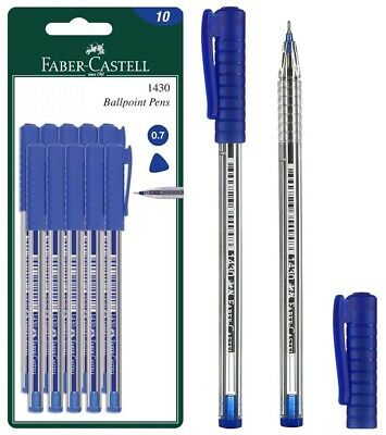 FABER-CASTELL 1430  BALL POINT BLUE INK PEN 10pcs IN A BLISTER CARD
