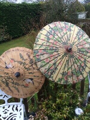 2 1930's Oriental Parasols. One Linen And One Waxed Paper