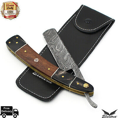 Damascus Steel Straight Razor Cut Throat Barber Salon Shaving Razor Vintage Wood
