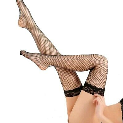 Women Sexy Lace Long Fishnet Socks Lady Solid Stockings Thigh High Hosiery