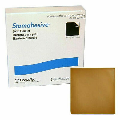 """5 Convatec Stomahesive SKin Barrier (1bx 5ct) Wafers 4""""x 4""""  (10cmx10cm)"""