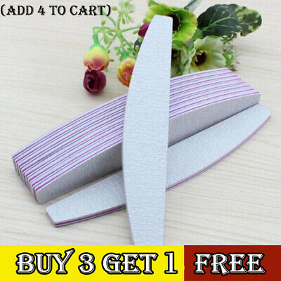 100pc Double Sided Nail Files 100 180 Grit Banana Curved Emery Board Nail Art GY