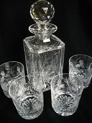 Royal Brierley Crystal Cut Glass Decanter and Four Tumblers