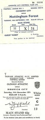 Ticket Coventry City - Nottingham Forest 16/9/1969