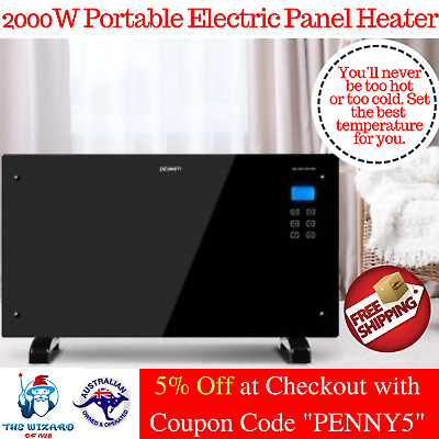 Devanti 2000W Black Glass Portable Electric Panel Heater Convection Panel Heat