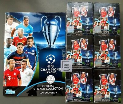 Topps Champions League Stickers 2015/2016 Album + 6 sealed Boxen