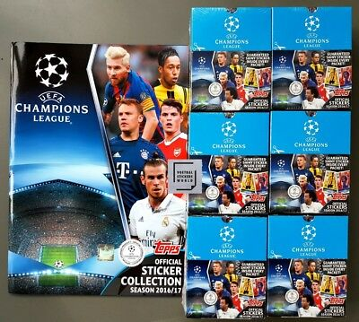 Topps Champions League Stickers 2016/2017 Album + 6 sealed Boxen