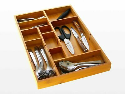 Bamboo Expandable Cutlery Tray, Drawer Insert Organiser