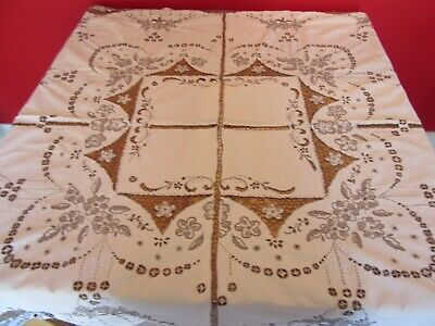 Lovely Vintage Wedding /Tea party Embroidered  linen Tablecloth beige & coffee
