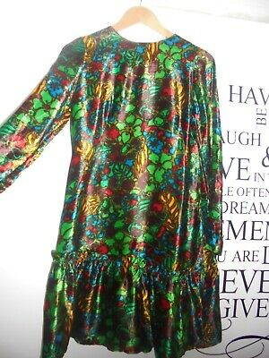 Vintage 70's floral cotton velvet dress with long sleeves and ruffled hem S-M