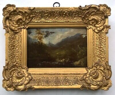 Antique Early 19th Century Original Oil Painting on Wood Panel Framed Landscape