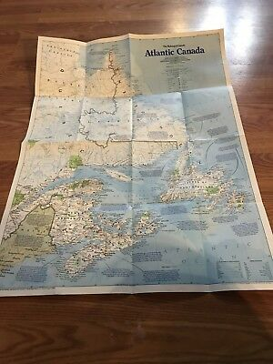 National Geographic Society Map 1993 Making of Canada Atlantic Canada