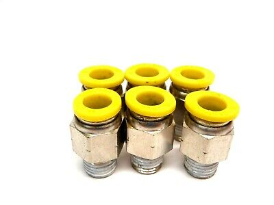 Lot of 6 Clippard PQ-MC12Z 3/8 OD Stainless Push Quick 1/2 NPT Male Fittings
