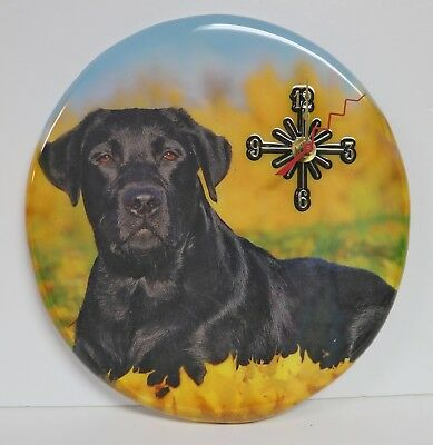"Handmade Wooden Wall Clock Black Lab Quartz 10"" X 10.5"" Oval New"