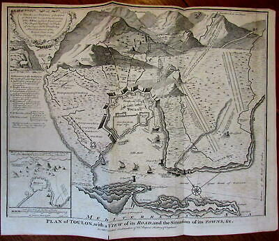 c.1740 Toulon France Engraved Old Map