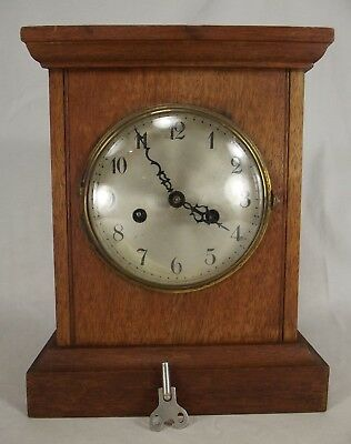 OAK mantel clock BADISCHE UHRENFABRIK antique wood brass key MADE IN GERMANY