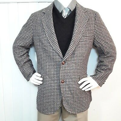 VINTAGE Pendleton Sz 44 Gray Wool Houndstooth Mens Jacket Sport Coat Blazer USA