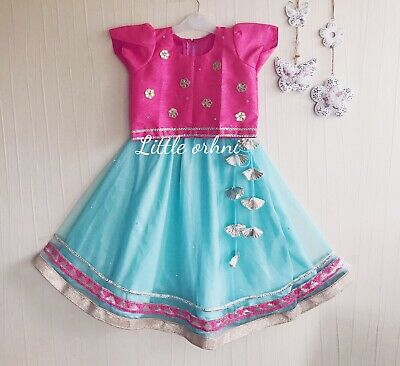 Girls Indian Dress Outfit - Pink, Turquoise And Navy Blue - 2 Years