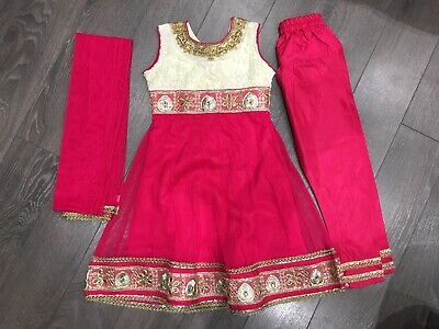 Girls Indian Dress Diwali Outfit - Pink & White - Size 16 - 1-2 Years