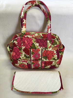 Vera Bradley Hello Dahlia Large Diaper Bag Changing Pad Purse Tote Pink Floral