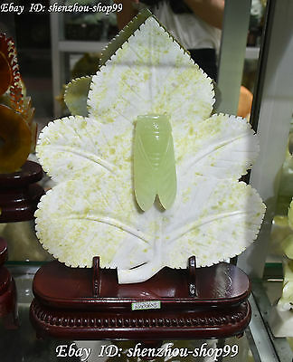 "17"" Natural China Green Jade Hand Carving Leaf Cicada Cicala Insect Statue"
