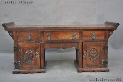 "21""Chinese Huanghuali Wood Hand Carved Ancient Lockers cabinet drawer desk table"